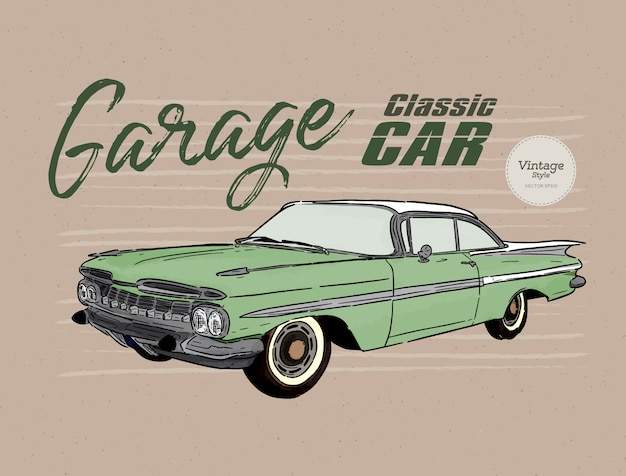 Oldtimer im vintage-stil Premium Vektoren