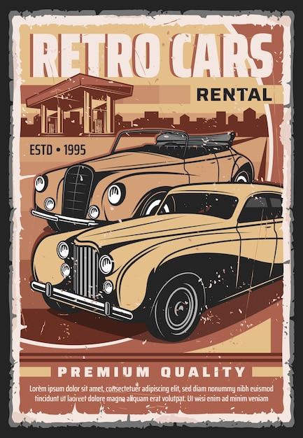 Oldtimer-mietservice-poster. retro limousine, luxus cabrio, cabriolet limousine in der nähe von tankstelle grunge illustration. retro autos sammler garage mit mietwagen bieten banner Premium Vektoren