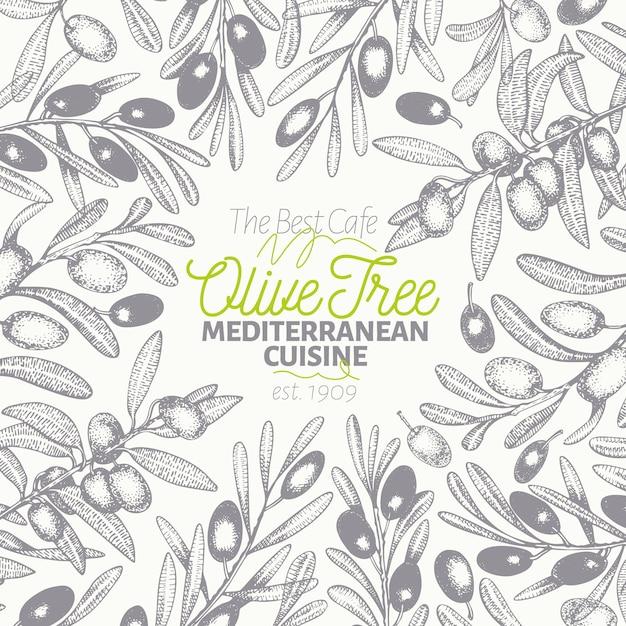 Olivenbaum banner vorlage. Premium Vektoren