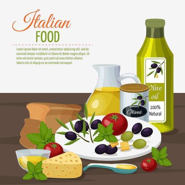 Olivenöl kulinarisches hintergrundplakat Kostenlosen Vektoren