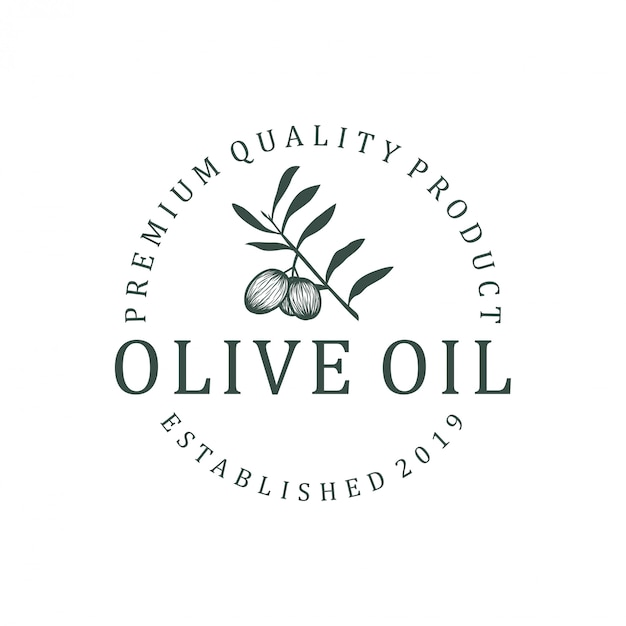 Olivenöl-logo-design. naturgesundheitskostblattgrün-europäer olea Premium Vektoren