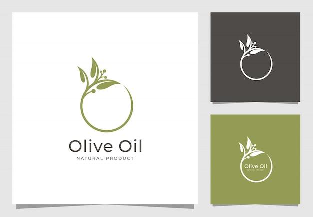 Olivenöl logo design Premium Vektoren