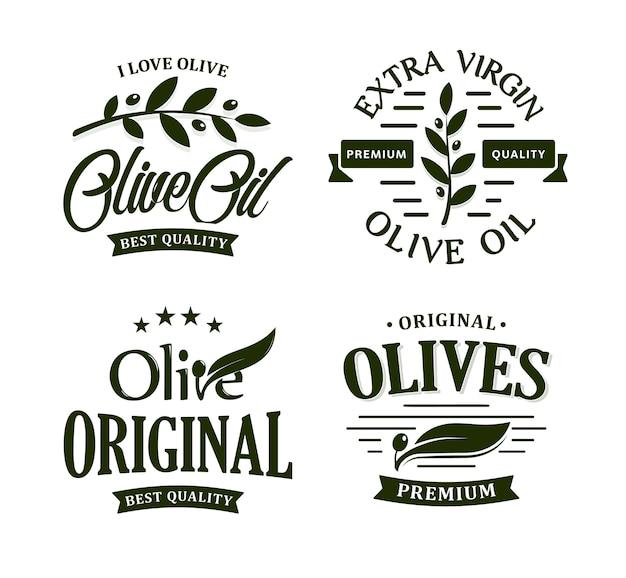 Olivenöl premium qualität. oliven zweig vintage label sammlung. extra virgin emblem gesetzt. Premium Vektoren
