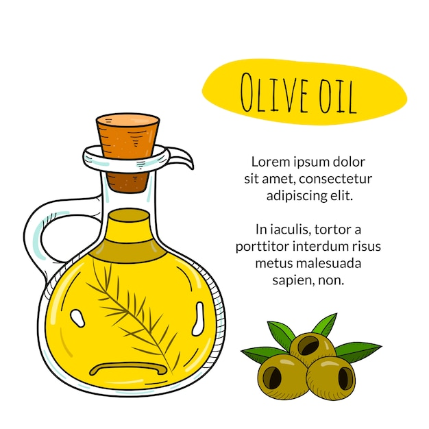 Olivenölflasche mit beispieltitel und textvorlage Premium Vektoren