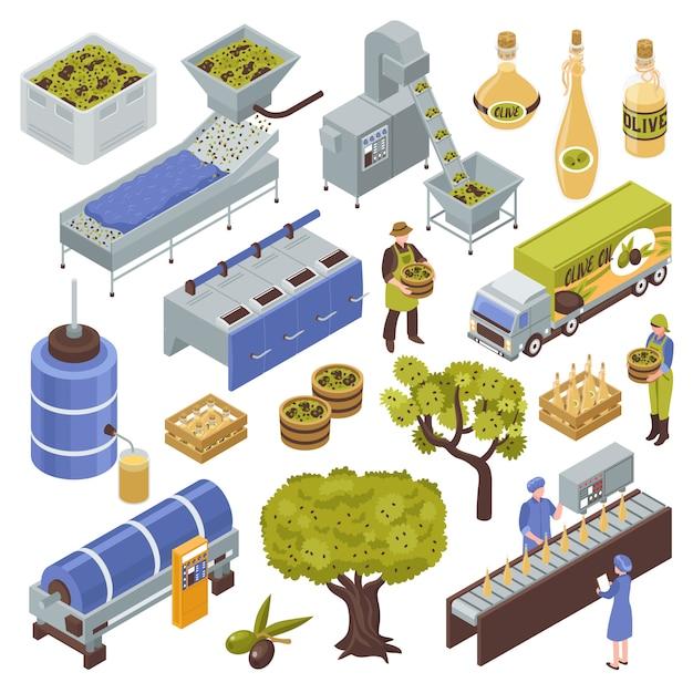 Olivenproduktionsset Kostenlosen Vektoren