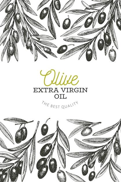 Olivenzweig vorlage. Premium Vektoren