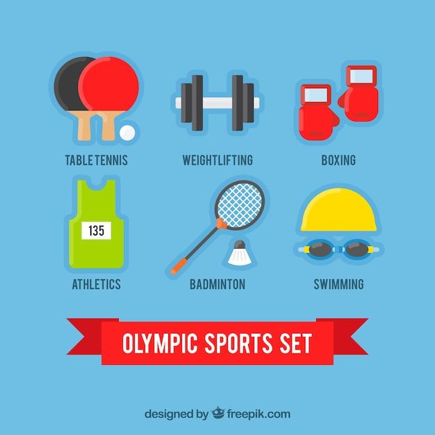 Olympische sportarten satz in flaches design Kostenlosen Vektoren