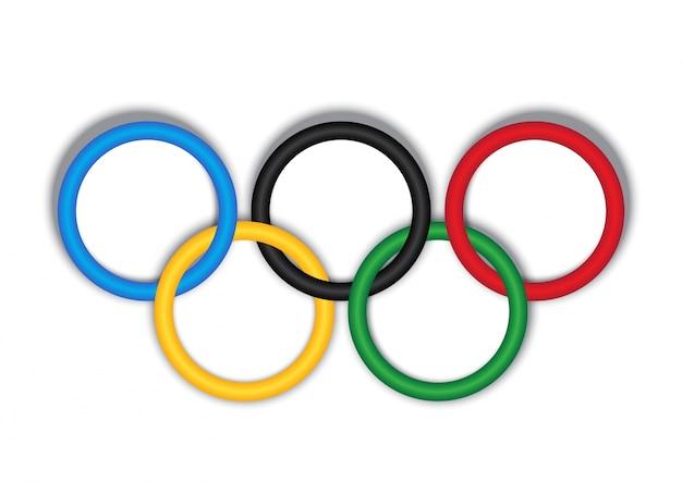 Olympischer ring 3d auf weißem hintergrund Premium Vektoren