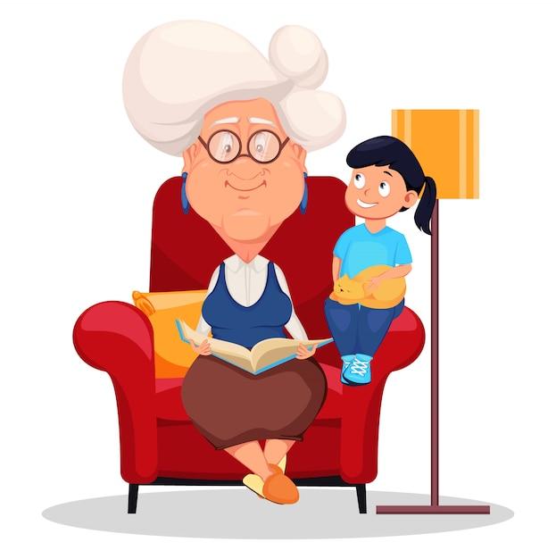 Oma im sessel mit enkelin sitzen Premium Vektoren