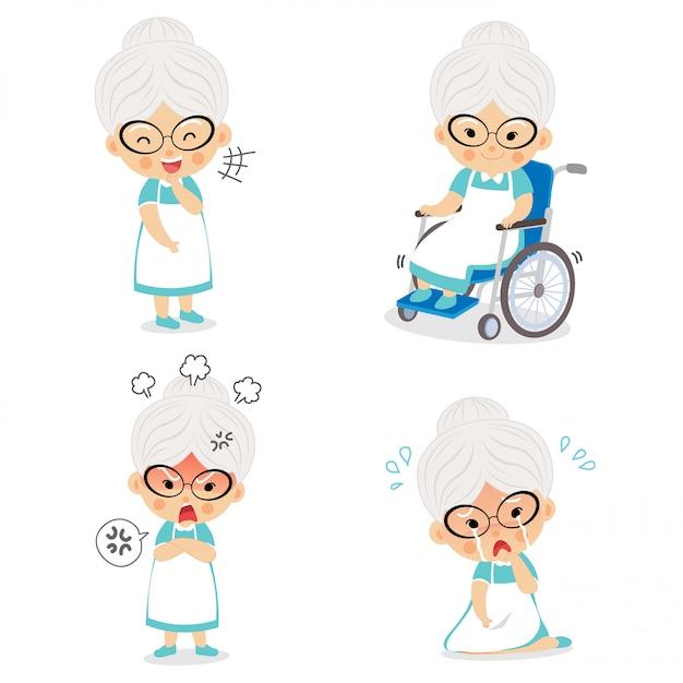 Oma in verschiedenen haltungen und zum ausdruck bringen von emotionen. Premium Vektoren