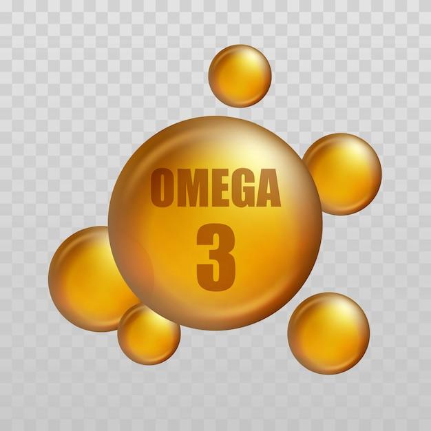 Omega 3. vitamintropfen, fischölkapsel, goldessenz bio-ernährung Premium Vektoren