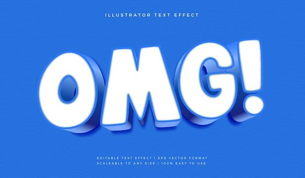 Omg blue surprise text style schrifteffekt Premium Vektoren