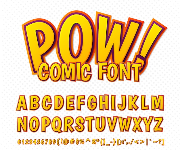 ? omic-schriftart, alphabet im comicstil, pop-art. mehrschichtige lustige orange buchstaben und zahlen Premium Vektoren