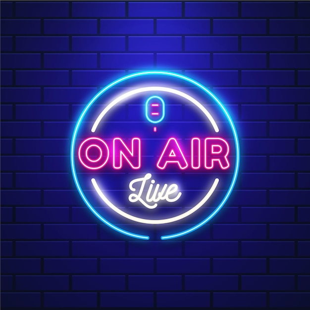 On air live neon frame Kostenlosen Vektoren