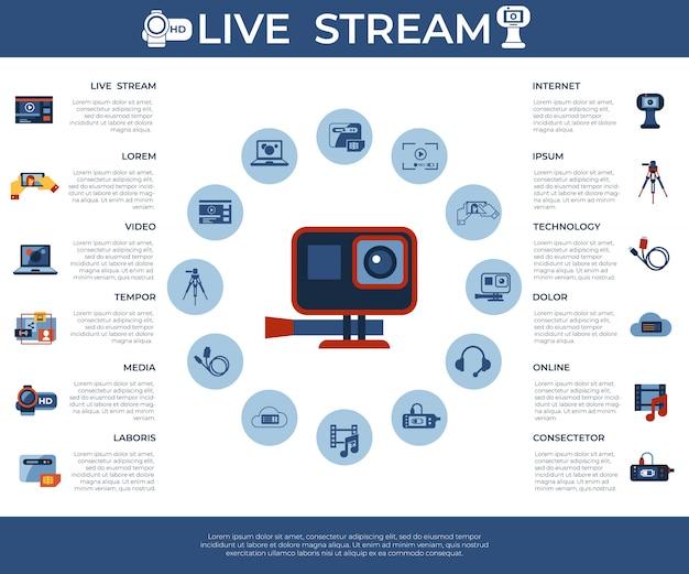 On-demand-online-streaming-technologie-ikonen-sammlung Premium Vektoren