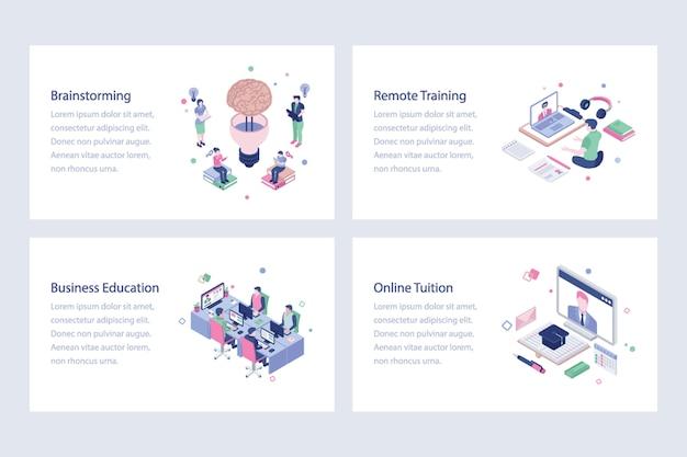 On-line-lernvektor-illustrations-design Premium Vektoren