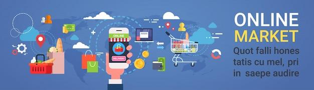 On-line-markt-hand, die intelligentes telefon-bestellungs-produkt-einkaufs- und lebensmittellieferungs-konzept-horizontale fahne hält Premium Vektoren