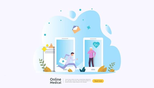 On-line-rat der medizinischen unterstützung oder doktorgesundheitswesenkonzept mit leutecharakter Premium Vektoren