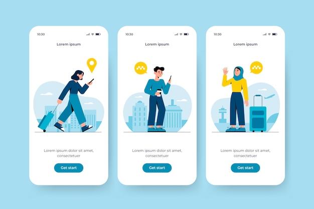 Onboarding-app-bildschirm für taxiservice Kostenlosen Vektoren