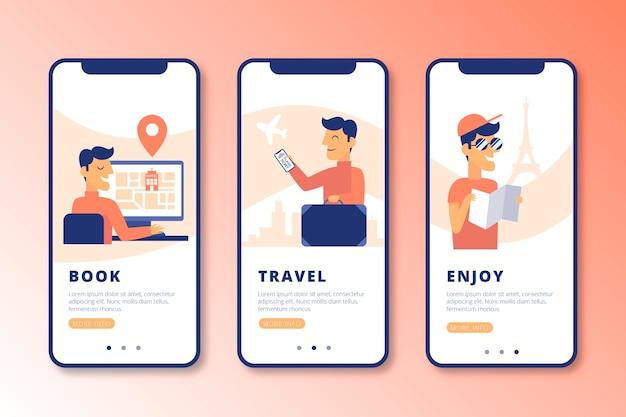 Onboarding-app-bildschirme der reise online eingestellt Kostenlosen Vektoren