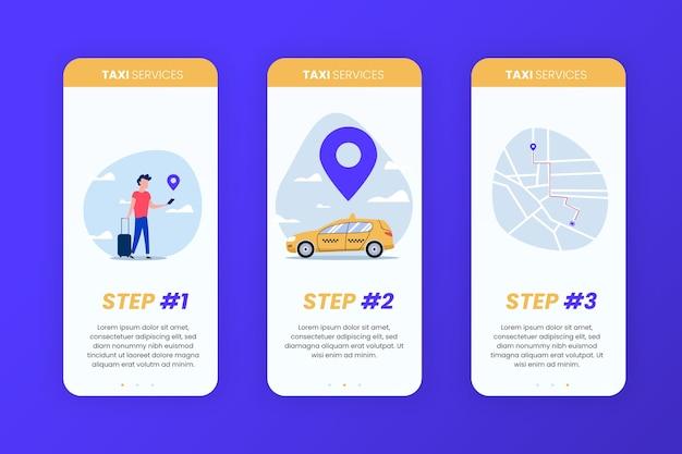 Onboarding-app-bildschirme für taxiservices Kostenlosen Vektoren