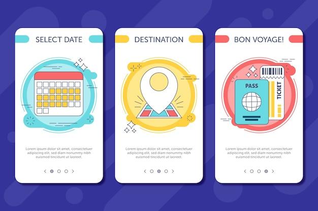 Onboarding-app-bildschirme für unterwegs Kostenlosen Vektoren