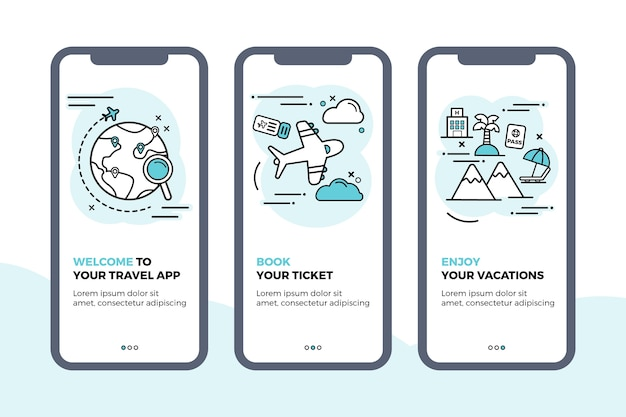 Onboarding app bildschirme sammlung zu reisen Kostenlosen Vektoren