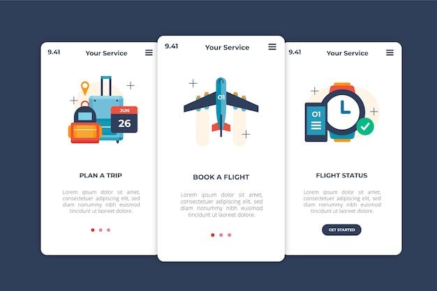 Onboarding-app-schirmkonzept der reise Kostenlosen Vektoren