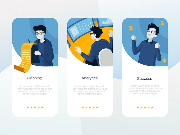 Onboarding-bildschirm für die business-app Premium Vektoren