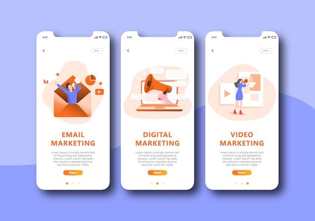 Onboarding-bildschirm für digitales marketing, mobile benutzeroberfläche Premium Vektoren