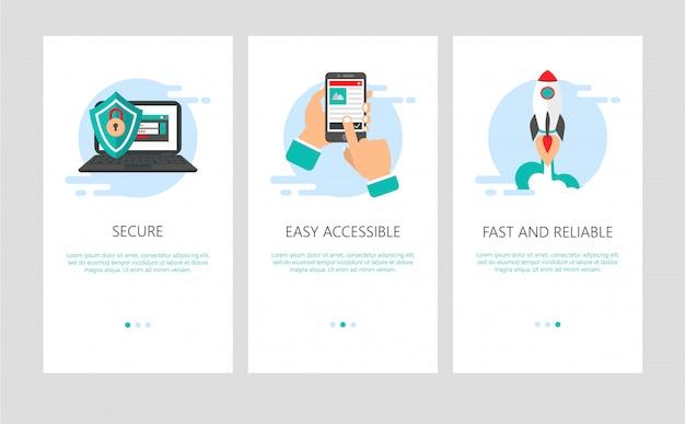 Onboarding für mobile apps im flachen stil. Premium Vektoren