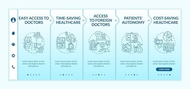 Onboarding-vorlage für telemedizinvorteile Premium Vektoren