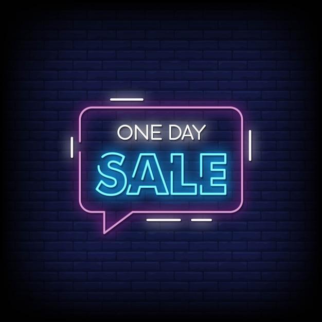 One day sale neon signs style text Premium Vektoren