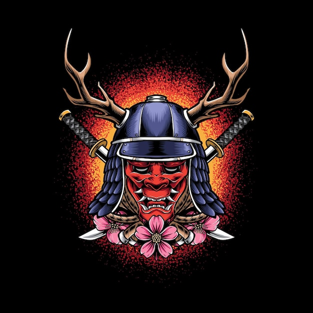 Oni maske mit samurai helm isoliert auf schwarz Kostenlosen Vektoren