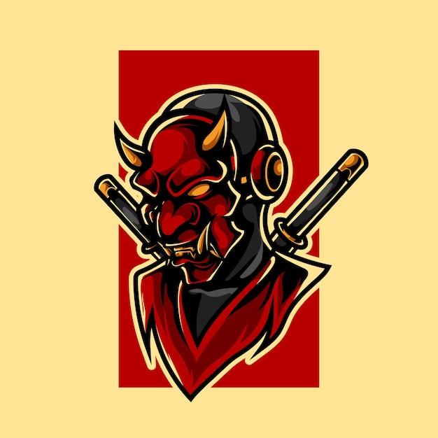 Oni ninja e sport maskottchen logo Premium Vektoren