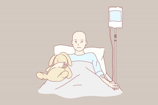 Onkologie, pflege, kindheit, klinik, gesundheit illustration Premium Vektoren