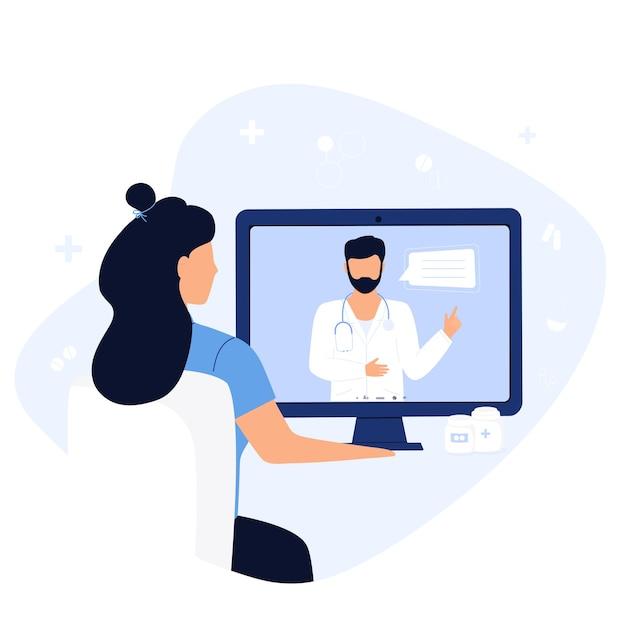 Online ärztliche beratung. der patient ist zu einem entfernten termin mit einem therapeuten. Premium Vektoren