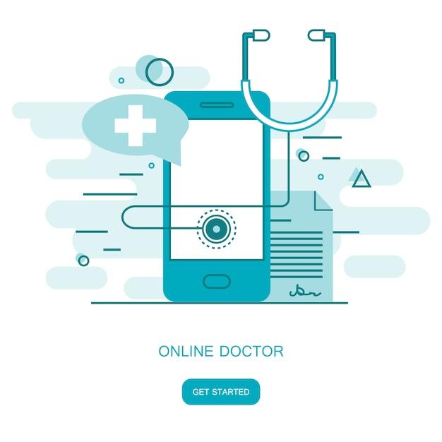 Online ärztliche beratung Premium Vektoren