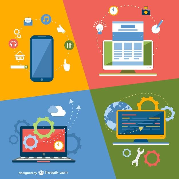 Online-Anwendungstechnik-Geräte Kostenlose Vektoren