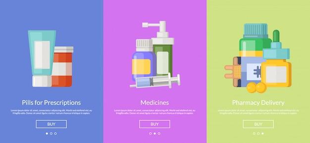 Online-apotheke diashow vorlage karten für den kauf von medikamenten Premium Vektoren