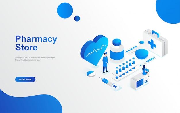 Online-apotheke store-konzept flaches isometrisches design Premium Vektoren