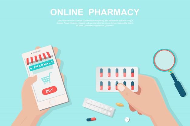 Online-apothekenkonzept im flachen stil. Premium Vektoren