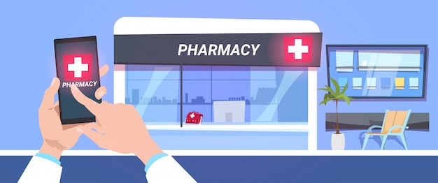 Online-apothekenladen-service-handgriff-smartphone Premium Vektoren