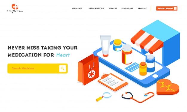 Online-apothekenservice mit isometrischer ansicht des sanitätshauses Premium Vektoren