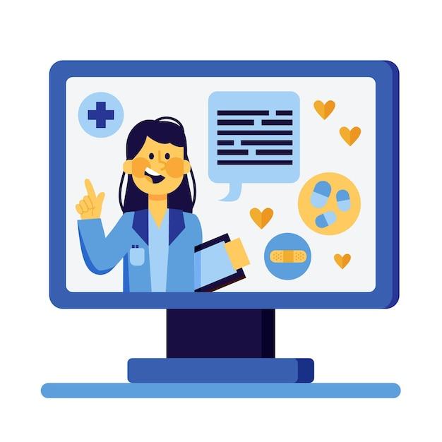 Online arzt illustriertes konzept Kostenlosen Vektoren