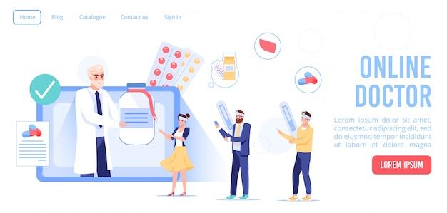 Online-arztberatung. man-therapeut, der medizinischen rat, pharmazeutische verschreibung zum patienten gibt, der unter fieber, kopfschmerzen, erkältung leidet. landingpage für gesundheitswesen und telemedizin Premium Vektoren