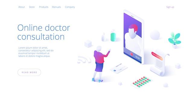 Online-arztbesuch oder besuchskonzept. frau, die internet auf smartphone für medizinischen video-chat verwendet. Premium Vektoren