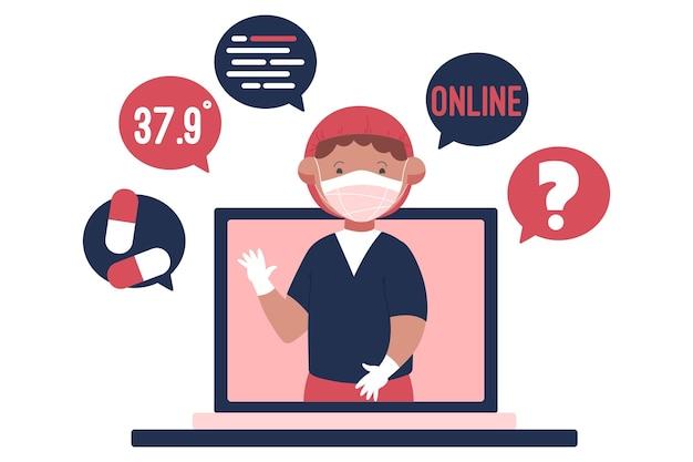 Online-arztillustration Kostenlosen Vektoren