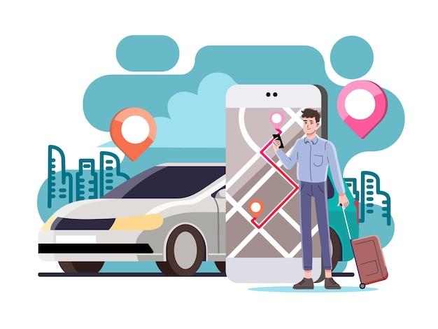 Online-auto, transportauto mit smartphone bestellen. Premium Vektoren