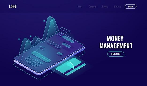Online-banking-app, ausgaben- und einkommenstatistik, money management, zahlungs- und lohnbericht Kostenlosen Vektoren